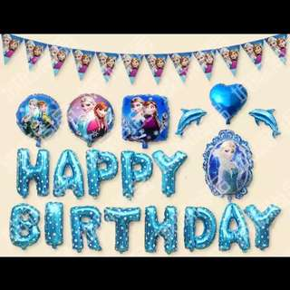 🦄 [Instock] Happy Birthday Party Decor Balloon Set - Frozen