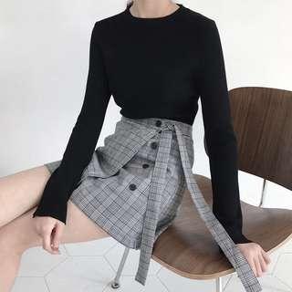 INSTOCKS Grey Checkered / Plaids skirt