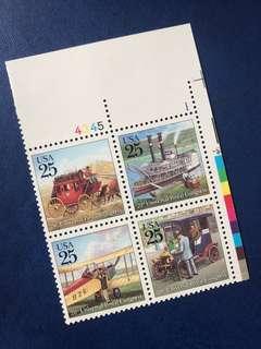 美國四方連郵票 帶數字邊 交通工具 馬車 船 汽車 飛機4全
