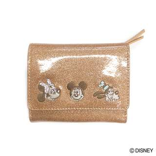 Japan Disney Accommode Disney Characters Pink Gold Spark Deco Mini Wallet