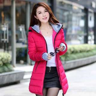 Mono-coloured Quilted Designed Hooded Long Section Winter Wear