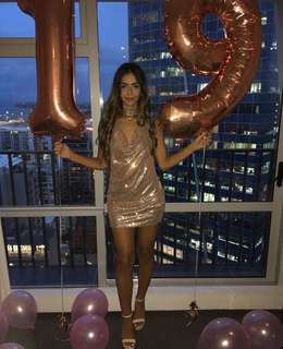 PLT- Rose Gold Chocker Chain Sequin Dress