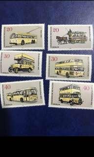 德國1973柏林 巴士6全 郵票