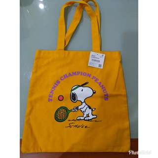 Snoopy Yellow Tennis Canvas Tote Bag