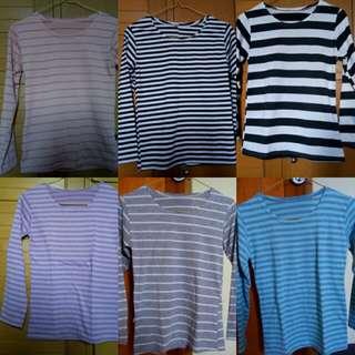 Kaos wanita stripe 6 pcs