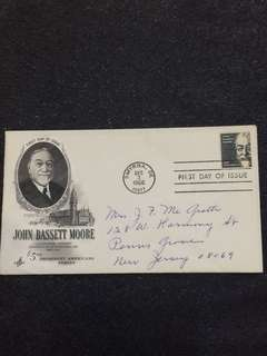 US 1966 High Value $5 John Bassett Moore FDC stamp