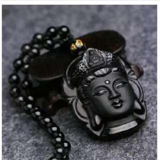 Pria Obsidian Amulet Pendant Necklace untuk Hadiah Ulang Tahun-Internasional