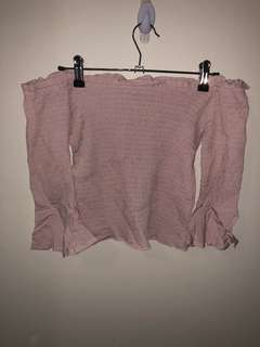 Baby pink off the shoulder bell sleeve cropped top