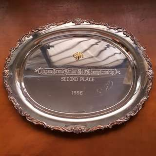 970 Sterling Silver Tray Trophy Golf Japan