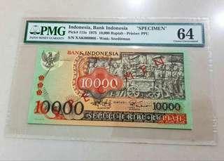 1975 Indonesia 10.000 10,000 Rupiah Specimen