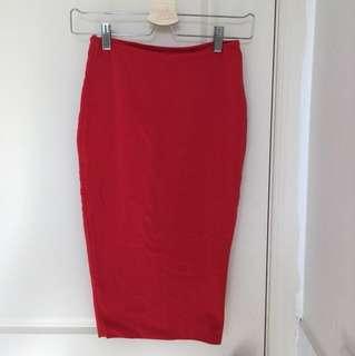 Kookai Red/Burgundy Bodycon Skirt