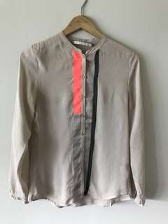 100% Silk Chiffon Danish brand Blouse Button Shirt