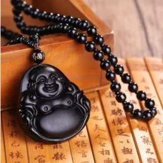 Natural Obsidian Buddha Pendant Necklace Fashion 6 Gaya Pria Lucky Jewelry-Pola 2-Intl