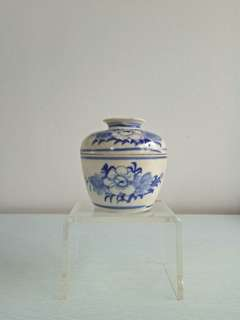 Straits Chinese Ceramics Blue And White Chupu And Cover Height 9.5 Diameter 9cm perfect condition