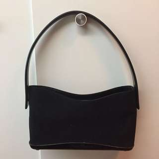Salvatore ferragamo handbag - black felt & resin shoulder bag purse