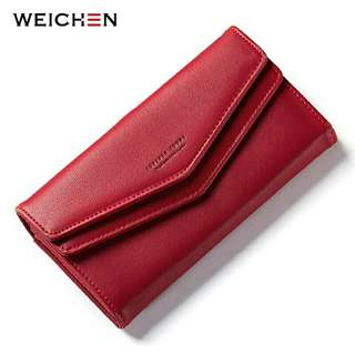 New Geometric Envelope Clutch Wallet For Women Female Leather Purse Card Holders Coin Phone Pocket Long Wallets