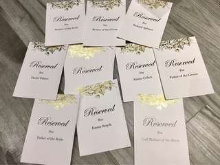 A5 custom Reserved wedding signs with gold foil