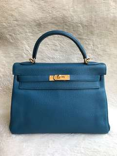 Like New⚡️Hermes Kelly 32 Blue GHW Togo leather