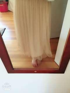 Glassons beige mesh maxi skirt