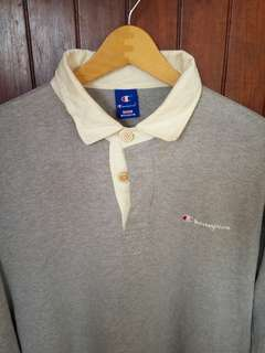 Champion Grey Polo Rugby Shirt longsleeve sz Medium fit M/L