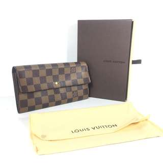 Authentic Louis Vuitton Damier Ebene Sarah Long Bifold Wallet (LV1714)