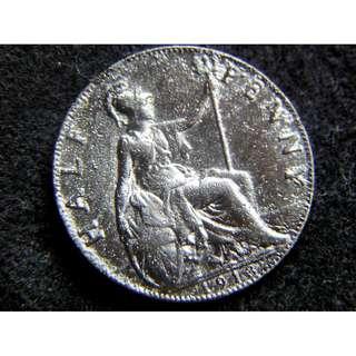 1913年大英帝國不列顛尼亞女神坐像1/2便士(Penny)銅幣(英皇佐治五世像)