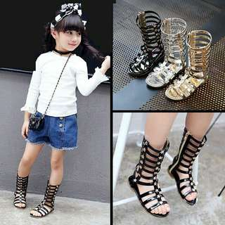 Top quality Girls Roman Sandals Bicrofiber Girls shoes Fashion Children Shoes Gladiator Baby sandals 16-21.5cm