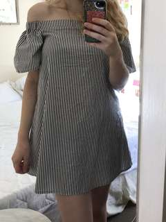 pinstriped off shoulder dress