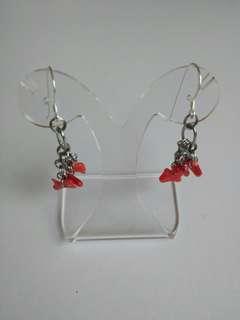 全新地中海紅珊瑚吊925銀耳環Red coral dangling 925 silver earrings