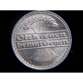 1921年德意志共和國(German Weimar Republic)麥穗群50分寧鋁幣(威瑪共和時期, 美品)