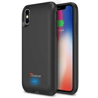 [IN-STOCK] iPhone X Battery Case with Qi Wireless Charging, Trianium 3000mAh [Black] Rechargeable Juice Power Charger Battery Case for iPhone X 10 [Apple Certified Part /Not Support with Wireless Charging Pad]