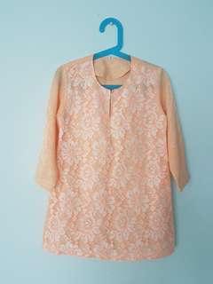 Girl Baju Mini Kurung Hari Raya Lace - Peach