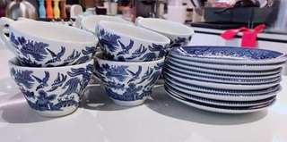 Church Hill Blue Willow Tea Cups sets of 10