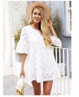 PO - Flare sleeve white lace Hollow out loose casual dress