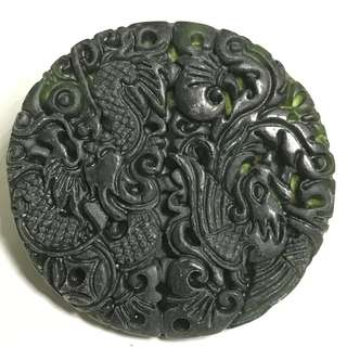 Serpertine Stone Amulet Dragon & Phoenix