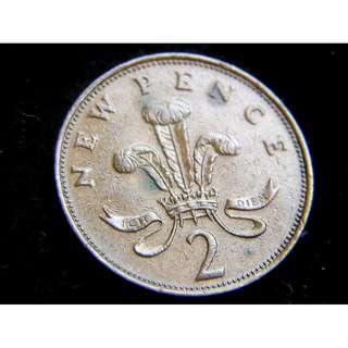 1971年英國威爾斯羽毛徽2便士(Pence)銅幣(英女皇伊莉莎伯二世像)