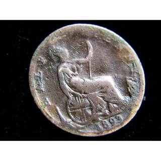 1893年大英帝國不列顛尼亞女神坐像1/2便士銅幣(英女皇維多利亞像)