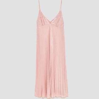 Zara Pink Sequin Midi Dress Size S