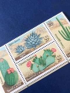 暫只限一張 美國1981 沙漠植物仙人掌 龍舌蘭 4全 連票 郵票