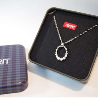 Esprit Shiny Crystal Oval Silver Necklace in Gift Box