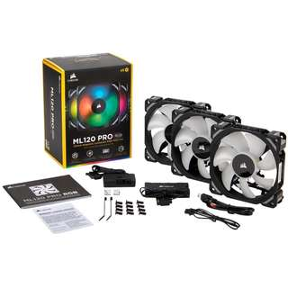 CORSAIR ML120 PRO RGB LED 120MM PWM Premium Magnetic Levitation Fan — 3 Fan Pack with Lighting Node PRO