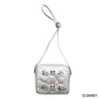 Japan Disney Accommode Disney Silver Spark Deco Mini Shoulder Bag