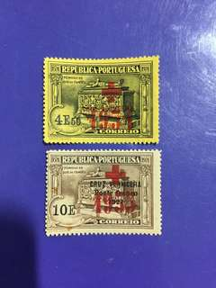 Portugal Overprint Red Cross Old Mint Stamps