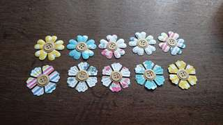 Embossed Paper Flowers - 10pcs