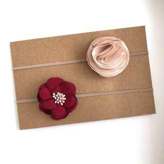 Maroon/Champagne Bloom Set-Handmade Baby Headband