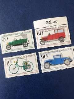 1982 德國柏林 老爺車 交通工具 單車 郵票4全