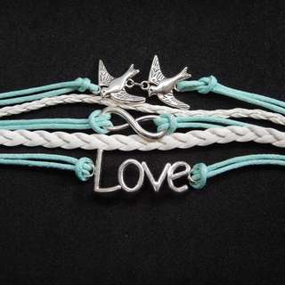 Love, doves, and infinity bracelet