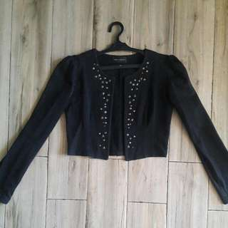 Cropped Blazer With Studs