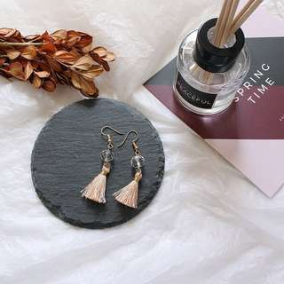 T56, pinkish tassel earrings