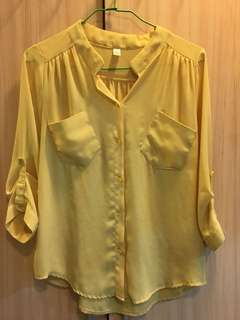 韓 粉黃 V領 雪紡襯衫